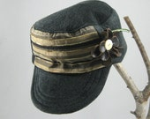 Military Cadet Hat / Cap plush steal gray with gold, sage, brown,and black and brown flower, OOAK