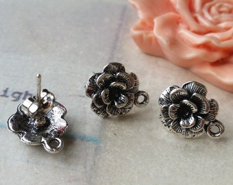11 mm Platinum Plated Charm Flower Earrings With Stoppers (.tn).