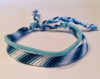 Teal & White Ombré Stripes with Turquoise Suede - Friendship Bracelet