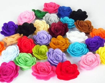 Felt Flower. 50 pcs. Size: 23 - 25mm  Pick your own colors. Felt die cut, felt roses