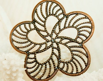 Copper Filigree Iron Flower Findings 50mm (12 pcs) C38