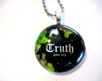 Art Pendant, Necklace, Christian gift, Glass Cabochon, Scripture, glass Gem, wedding keepsake souvenirs,
