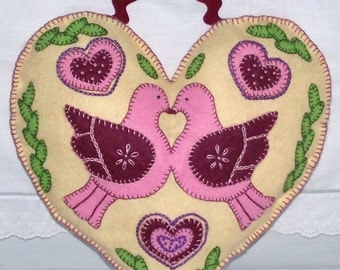 Hand stitched heart cushion,pillow, doorhanger, wall hanging 13 inches high shabby chic