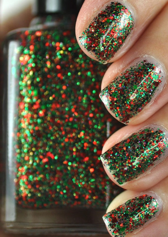 Sleigh Bells Bling Red And Green Glitter Nail By Thehungryasian