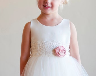 flower girl dresses in ivory or white with lace sash