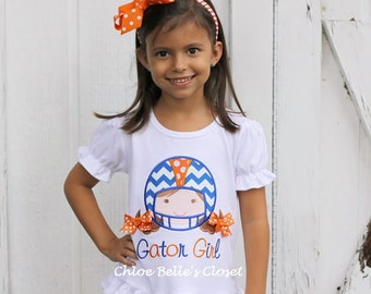 Orange and Blue Team Spirit Ruffle Shirt