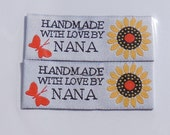 Sewing Labels, Nana, 2 per pkg, woven labels, NON CUSTOMIZABLE pre made labels for sewing, crafts and quilting