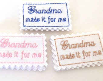 Sewing Labels, Made it for me, Embroidered sewing or craft labels, Handmade supply, made to order