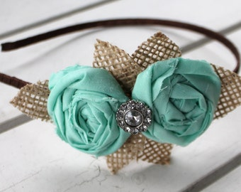 Burlap and mint blue rosette flower duo metal wrapped headband. fits women and children.