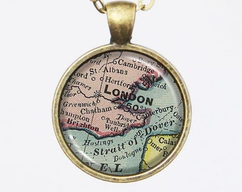 London Map Necklace -Vintage London, England- Vintage Map Series