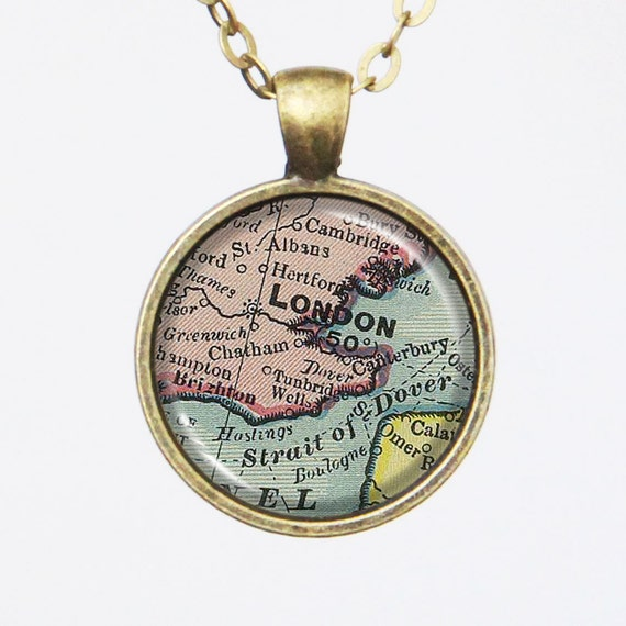 London Map Necklace -Vintage London, England- Vintage Map Series