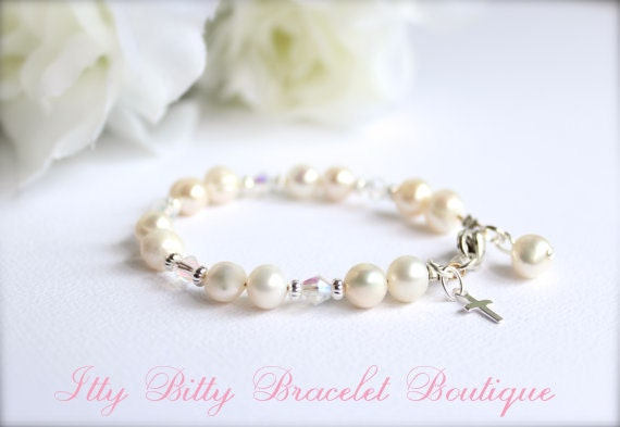Real Pearls Sterling Silver Cross Baptism Gift Cultured Freshwater Pearls, Keepsake Bracelet, Christening, Communion -- FREE Gift Packaging