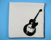 HANKIE- GUITAR shown on super soft white cotton hanky-or choose from any solid color or plaids shown in pics