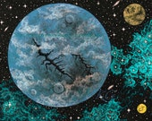 SPACE ART Baby Blue World - Teal Nebula Spacescape Print of an Original Painting by K Graham Stars Galaxy Cosmic Astronomy Planets
