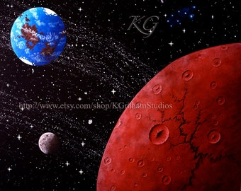 16x20 Gallery Wrapped Stretched Canvas Print of Original Painting by K Graham SPACE ART Rust Moon Live World Spacescape Stars Galaxy Planets