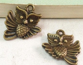 30pcs Antique Bronze Lovely Owl Charms Pendant 17x20mm Double Sided F506-6