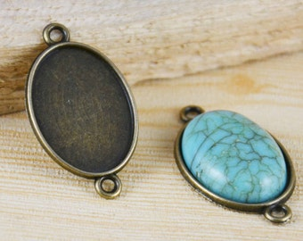 Cabochon Base -20pcs Antique Bronze Oval Bezel Tray Charm Pendants 18x25mm G404-5