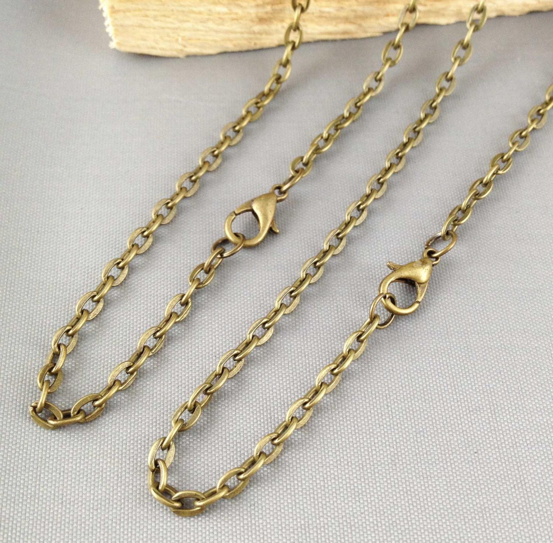 10pcs 3x5mm antique bronze oval chain necklace with clasp 70cm