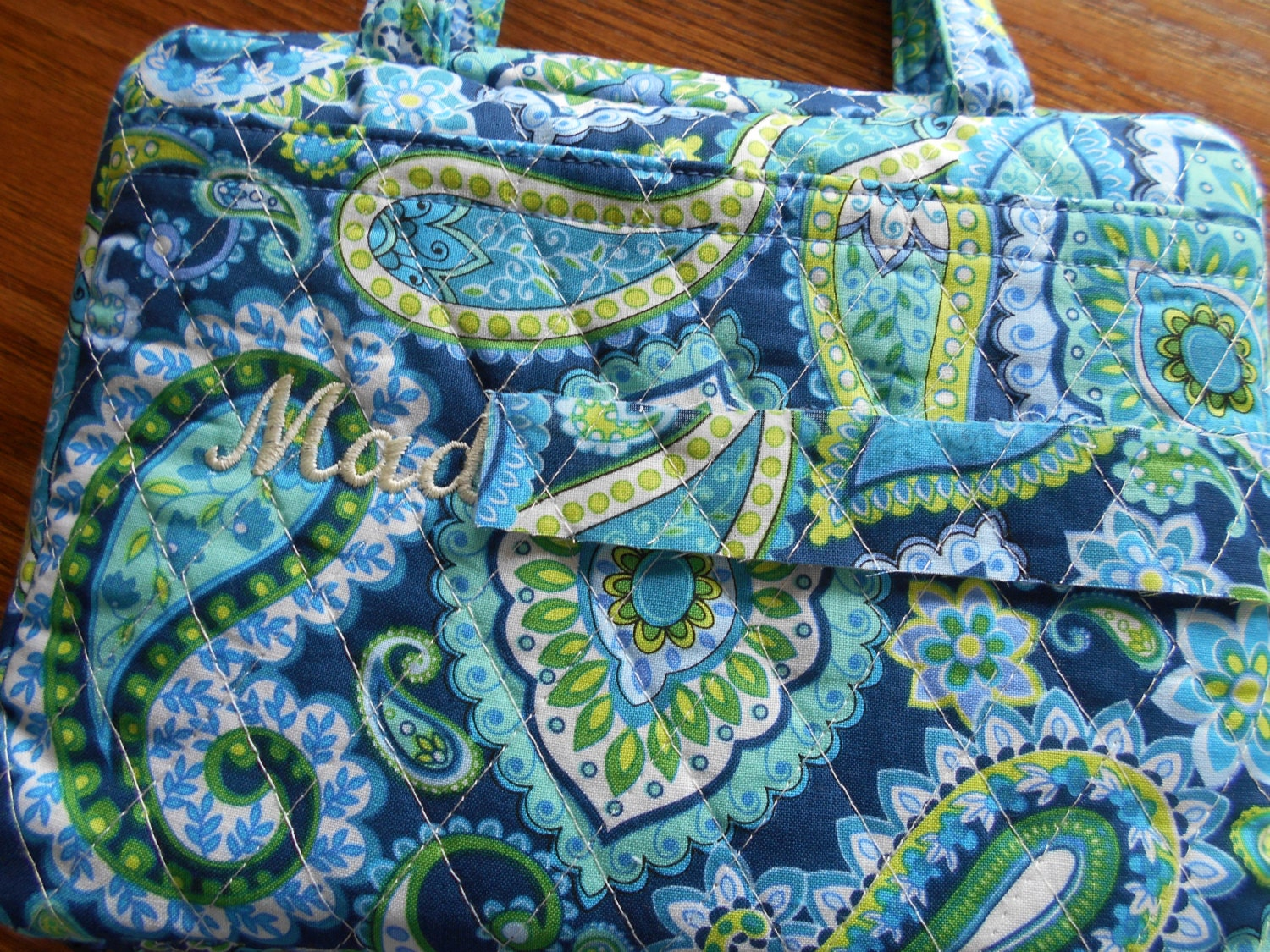 Quilted Fabric Book Cover : Personalized bible cover teal paisley quilted fabric