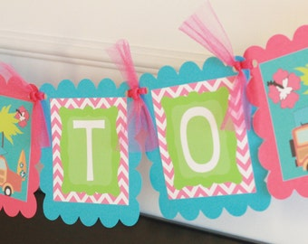 """Hot Pink Green Turquoise Chevron """"Bride to Be"""" Hawaiian Vintage Surf Bridal Shower Bachelorette Banner -  Ask about our Party Pack Special"""