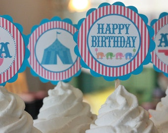 12 Hot Pink & Turquoise Blue Circus Carnival Theme Birthday Cupcake Toppers - Ask About our Party Pack Sale