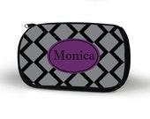 Diamond Cosmetic Case, Personalized Cosmetic Bag, Custom, Bridesmaid Gift, Custom Gift, Tech bag, Pencil Case
