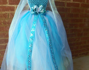 Frozen Elsa Tutu Dress with FREE Hair Bow Floor Length Cape Costume Christmas Gift