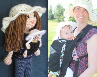 Custom Crochet Doll from Picture Vegan mother baby carrier Plush Stuffed Toy Baby Girl Gift MADE TO ORDER