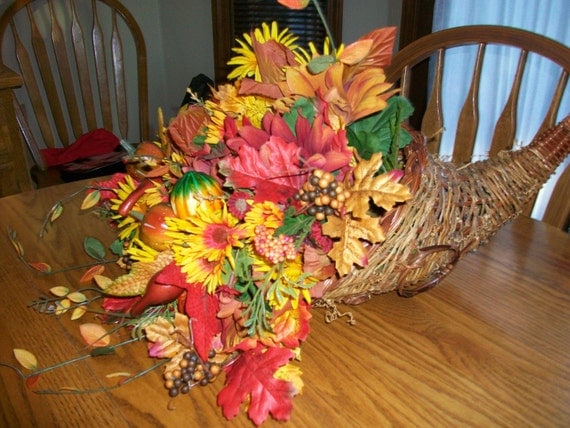 Thanksgiving cornucopia floral centerpiece by thevintagelure