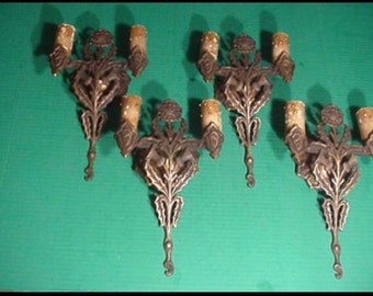Early 1900s arts & crafts figural thistle bronze sconces 2 available