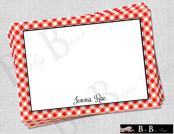 Farm Birthday Thank You Note/ Stationery- Red & Black- PRINTABLE