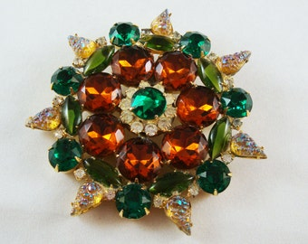 Vintage Large Multicolor Sunburst Rhinestone Brooch
