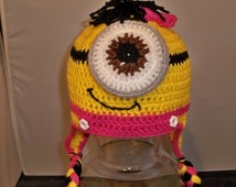 Yellow and Pink Girls Minion  Crocheted One Eyed Minion Ear flaps and Tassels