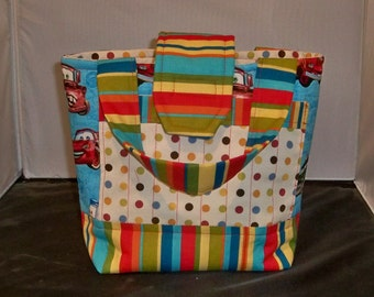 Boys Cars Theme Scripture Bag or Tote Polka Dots  Bright Blue and Red