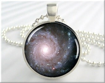 Galaxy Space Pendant, Messier74 Galaxy Necklace, Hubble Image Charm, Resin Jewelry, Round Silver, Space Geek Gift (640RS)
