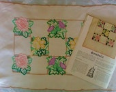 Vintage 50s Needlewoman & Needlecraft Magazine No 54 QEII Coronation Edition with Hand Embroidered Linen Tray Cloth