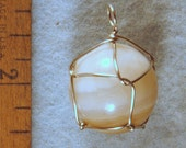 Banded Agate Crystal Ball Wire Wrapped Protection Jewelry Pendant