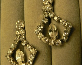 vintage jewels ...  Stunning Silver and RHINESTONE diamond DANGLER PASTE stones screw back Earrings ...