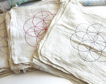SEED OF LIFE--- 1 Crystal Grid Cloth --- all natural --- 100% cotton, sacred geometry grid template