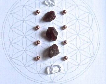 JANUARY BIRTHSTONE GRID --- framed crystal grid --- garnet, copper, clear quartz --- flower of life
