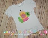 Custom Back to School Preschool Kindergarten Worm Pencil Applique Monogram Shirt