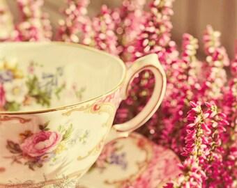 Still Life Photography, Tea Party, Vintage Teacup Photo, Kitchen Decor, Pink, Romantic Cottage Art, Shabby Chic, Tea Cup - Alice's Breakfast
