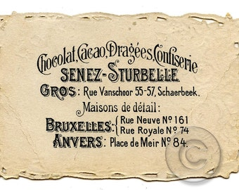 Chocolate Vintage French Advertisement Label Business Card Digital jpg Download Print