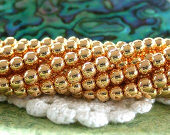 24kt Gold Plated Beads, 4mm Druks, Druk Beads, Czech Glass Beads, Round Glass Beads, Gold Plated Beads, Gold Beads CZ-375