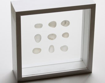 Sea Glass in Shadowbox - White Collection