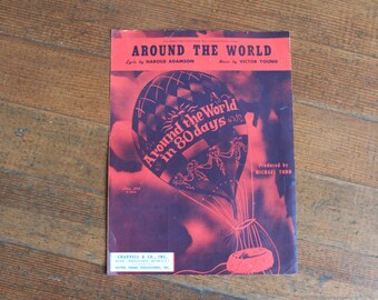 Vintage Sheet Music - Around The World, Music by Victor Young, Lyric by Harold Adamson (1956 and 1957)