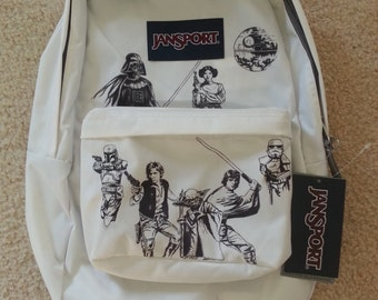White and Black Star Wars Themed Jansport Backpack