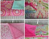 "Toddler Minky Comforter -  Large - Approximately 50"" x 40"" - Kumari Garden Fabrics - Girls Bedding - Choose Your Own Fabrics - MADE TO ORDER"