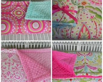 "Toddler Minky Comforter -  Large - Approximately 50"" x 40"" - Kumari Garden Fabrics - Girls Bedding - Choose Your Own Fabrics - MADE TO ORDER"
