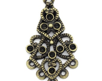 8 Teardrop Connector Charms -  Antique Bronze - Holds Rhinestones - 35x19mm - Ships IMMEDIATELY  from California - BC621